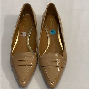 Coach Tan Size-7.5 patent leather loafers